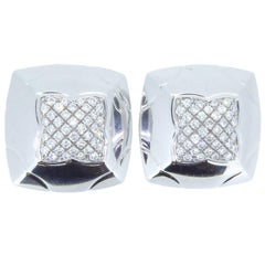 Bulgari Pyramid 18 Carat White Gold and Diamond Ear Clips