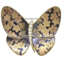 Van Cleef & Arpels & Junichi Hakose Gold Diamond and Lacquer Butterfly Brooch