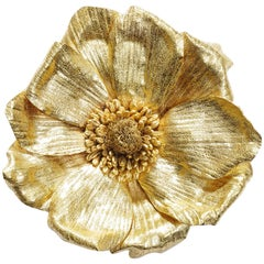 Vintage Handmade 22 Karat Gold Anemone Flower Convertible Brooch or Pendant
