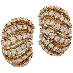Van Cleef & Arpels 1980s Diamond and Gold Bombé 'Coucous' Earrings