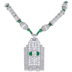 Henri Picq French Art Deco Diamond Emerald and Platinum Necklace-Pendant