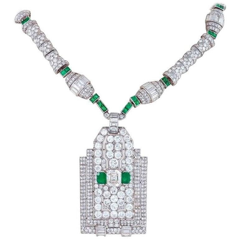 Henri Picq Art Deco diamond, emerald and platinum necklace, ca. 1925