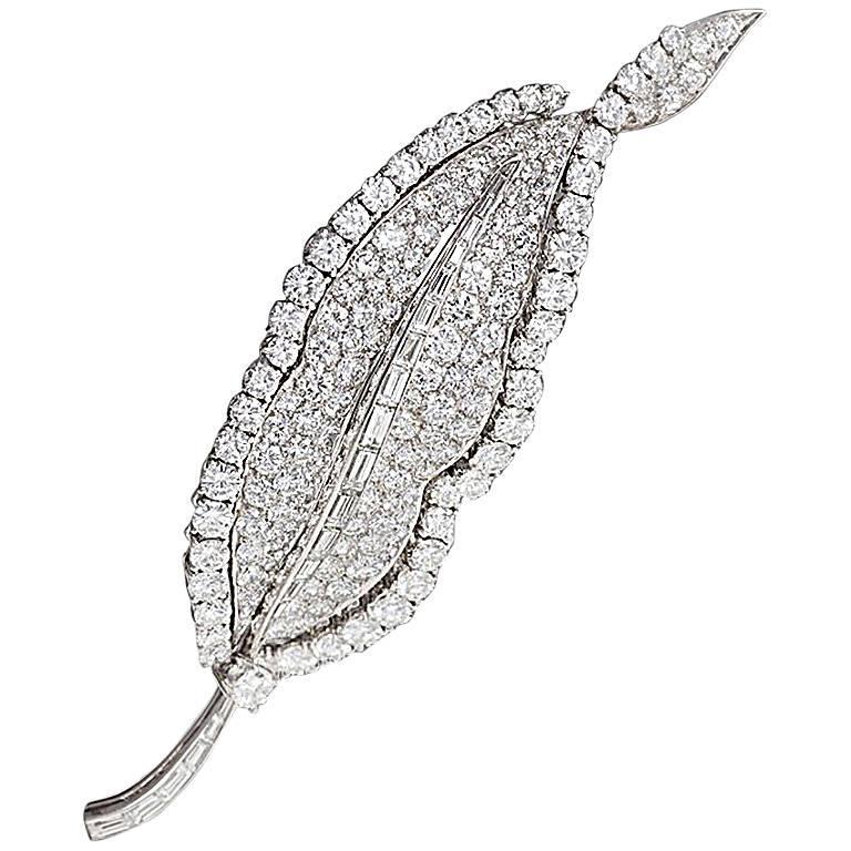 Bulgari 1960s Diamond and Platinum Leaf Brooch