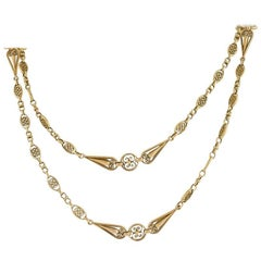 French Art Nouveau Gold Long Chain