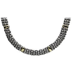 Lagos Signature Caviar Sterling Silver and 18 Karat Yellow Gold Necklace
