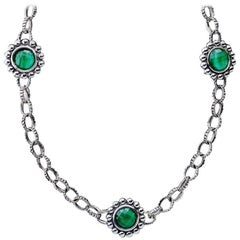 Lagos Malchite Doublet Maya Sterling Silver Five Station Necklace