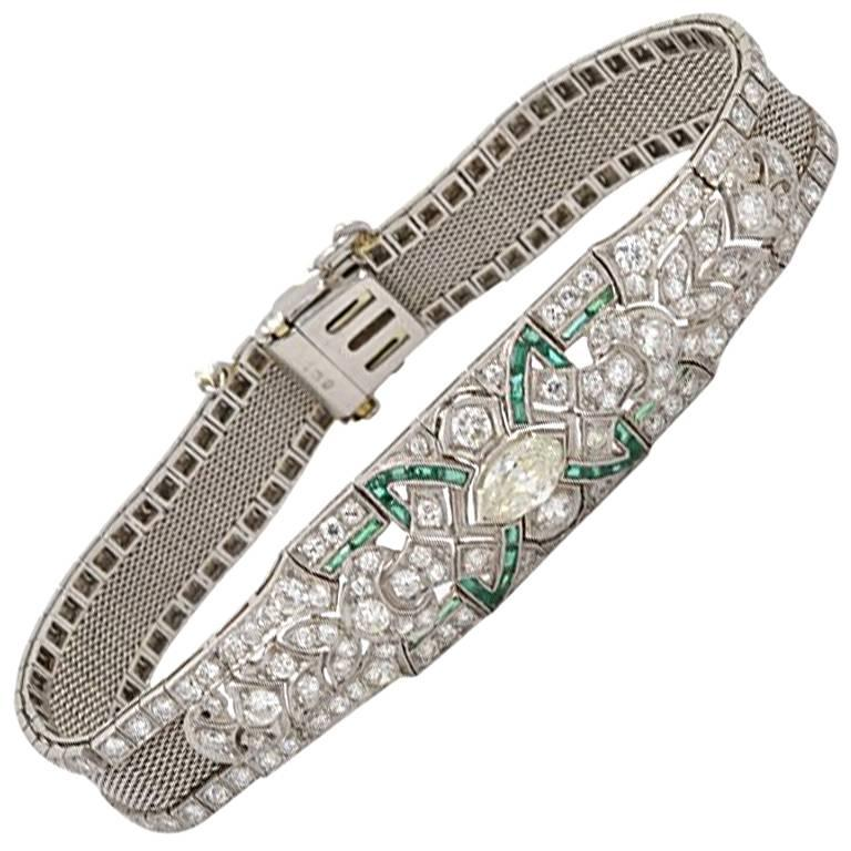 Art Deco Diamond and Emerald Platinum Bracelet, circa 1920