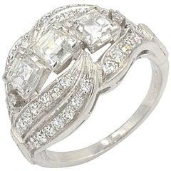 Vintage Three-Square Diamond and Platinum Ring, circa 1930