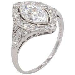 0.94 Carat Marquise Golconda Diamond Platinum Engagement Ring, circa 1930