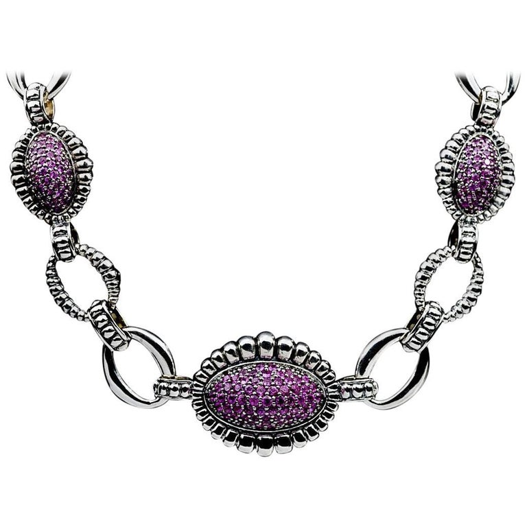 Lagos Pink Sapphire Muse Venus Sterling Silver Fluted Link Necklace