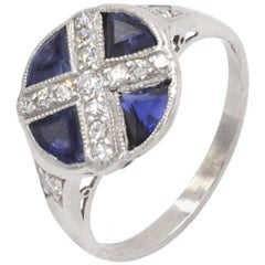 Art Deco Sapphire and Diamond Platinum Ring, circa 1930
