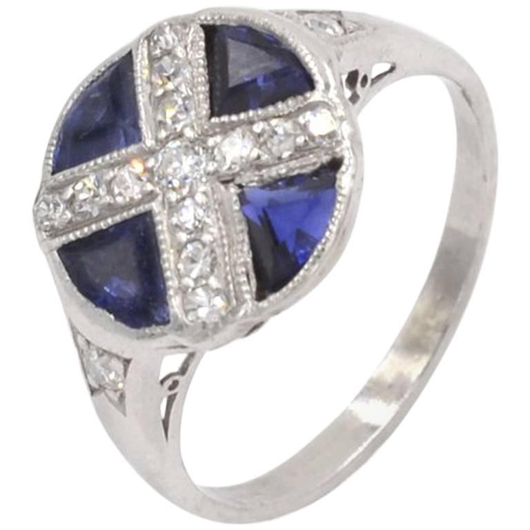 Art Deco Sapphire and Diamond Platinum Ring, circa 1930