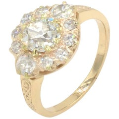 Victorian Diamond Cluster Ring in 14 Karat Yellow Gold, circa 1900