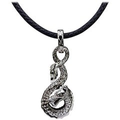 John Hardy Naga Dragon Sterling Silver Pendant Leather Cord Necklace