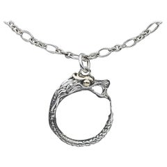 John Hardy Legends Naga Silver and Gold Hoop Dragon Pendant Necklace