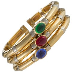 Bulgari 1970s Sapphire Ruby Emerald and Gold Bangle Bracelet