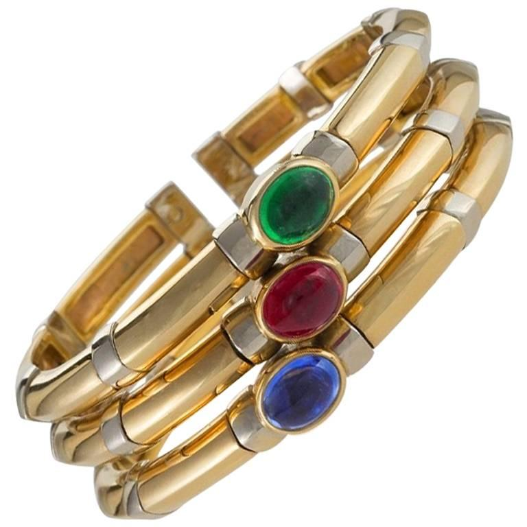 Bulgari 1970s Sapphire Ruby Emerald and Gold Bangle Bracelet For Sale