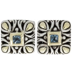 John Hardy Topaz Angela Sterling Silver and Gold Square Stud Earrings