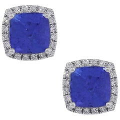 Tanzanite and Diamond Halo Earrings
