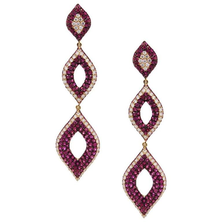 Ruby and Diamond Drop Earrings