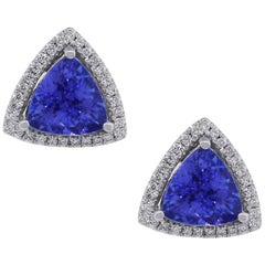 Trillion Cut Tanzanite and Diamond Earrings