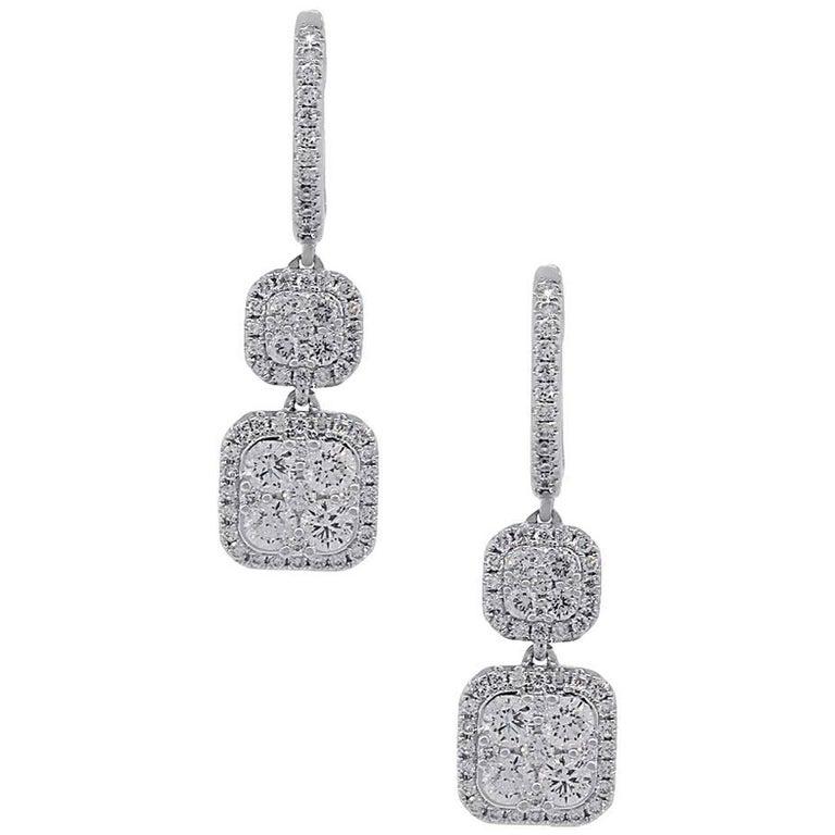 Cluster Diamond Dangle Earrings