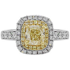 1.12 Carat Fancy Yellow Cushion Cut Diamond Halo Engagement Ring
