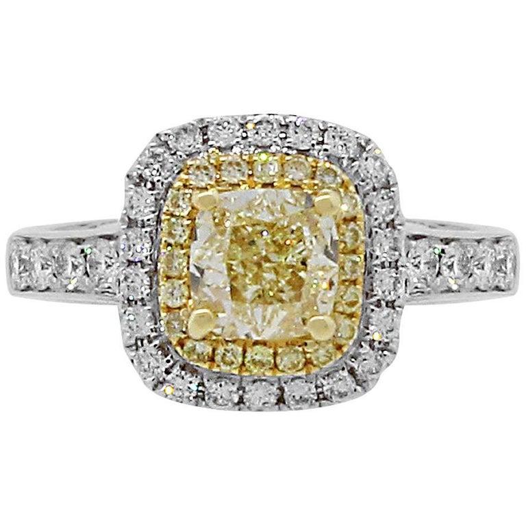 1.12 Carat Fancy Yellow Cushion Cut Diamond Halo Engagement Ring