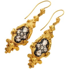 Yellow Gold Repousse Style Early Victorian Diamond Drop Earrings