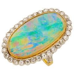 Yellow Gold 8.29 Carat Andamooka Crystal Opal Diamond Cocktail Ring