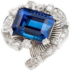 Platinum 12.44 Carat Tanzanite Diamond Cocktail Ring