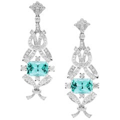 White Gold Turquoise Tourmaline Diamond Fleur-de-Lys Drop Earrings