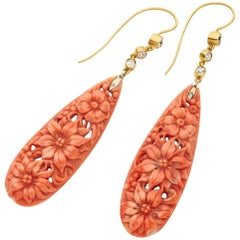 Antique Yellow Gold Carved Natural Coral Diamond Drop Earrings