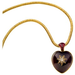 Victorian Yellow Gold Cabochon Garnet Diamond Heart Locket Necklace