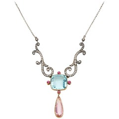 Belle Epoch Yellow Gold Silver Aquamarine, Pink Topaz, Ruby, Diamond Necklace