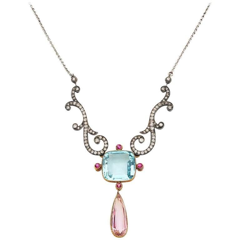 Belle Epoch Yellow Gold Silver Aquamarine, Pink Topaz, Ruby, Diamond Necklace