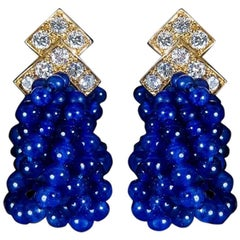 Van Cleef & Arpels 1970s Earrings in Diamonds, Sodalities and Gold