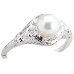 Antique Art Deco Pearl and Filigree Engagement or Cocktail Ring