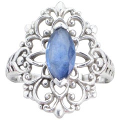 Platinum Vintage Marquise-Cut Sapphire and Filigree Ring