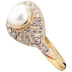 Vintage Pearl and Diamond Engagement or Cocktail Ring