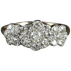 Antique Victorian Diamond Cluster Ring 18 Carat Gold 1.50 Carat of Diamonds