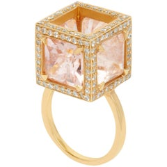 Assya London Morganite and Diamond Rose Gold Sphinx Cocktail Ring