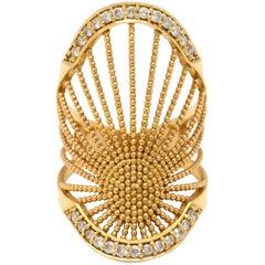 Assya London 18 Karat Gold and White Diamond Oriental Ring