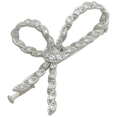 1930s Antique French Diamond and White Gold Bow Brooch