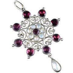 Antique Arts & Crafts Flat Top Garnet and Blister Pearl Pendant, circa 1900