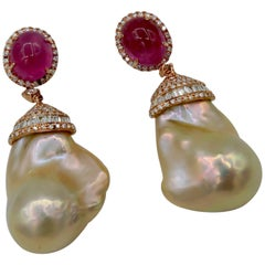 BOON Pink Sapphire Diamond Baguette Rose Pink Gold Pearl Drop Earrings