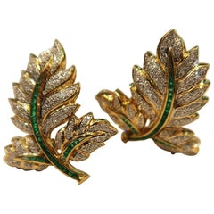 Leaf Baguette Emerald Pave Diamond Gold Clip on Foldable Post Earrings