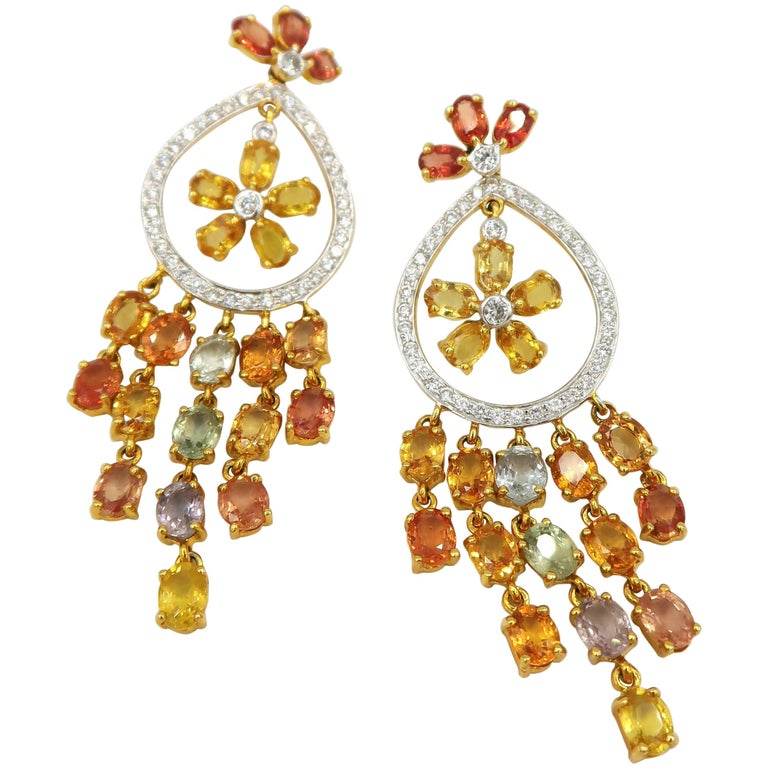 Citrus Sicily Yellow Orange Sapphire Diamond Gold Dangle Earrings