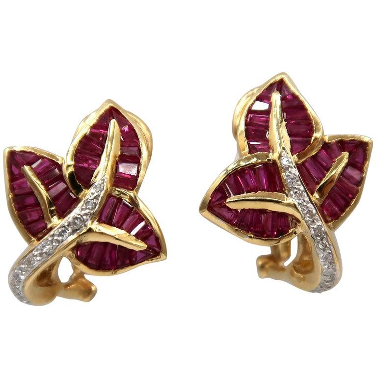 Leaf Baguette Ruby Diamond Gold Unpierced Clip Foldable Post Omega Earrings