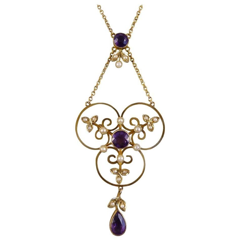 Antique Edwardian Pearl and Amethyst Necklace in 9 Carat Gold